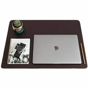 Zbrands Brown Leather Smooth Desk Mat Pad Blotter Protector Extended Laptop