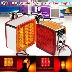 Pair Amber red Square 39 Led Double Face Stud Mount Cab Fender Turn Signal Light