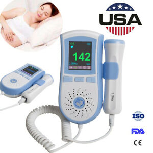Lcd Pocket Fetal Doppler 3mhz Probe Baby Heart Monitor Dual Interface Display
