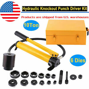 10 Ton Hydraulic Knockout Punch Hand Pump Hole Tool Driver Kit With 6dies Case