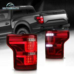 Red Clear Tail Lights Full Led For 15 17 Ford F150 Rear Lamps Plug