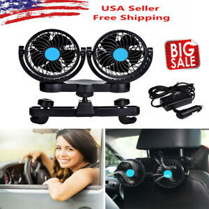 12v Dual Head Car Seat Fan Portable Vehicle 360 Rotatable Auto Cooling Cooler