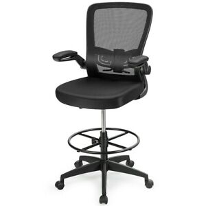 Drafting Chair Tall Office Chair Adjustable Height W lumbar Support Flip Up Arms
