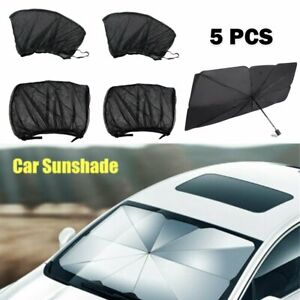 5pcs set Car Sunshade Front Side Window Shade Screen Cover Curtain Breathable