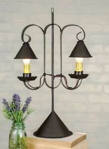 Rustic New Student Accent Lamp With Hanging Shades In Rustic Brown Tin