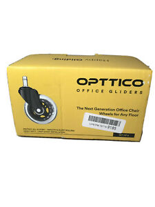 Opttico Office Gliders Set Of 5 clear Rubber Wheels 3 7 16 X 7 8 Standard Stem