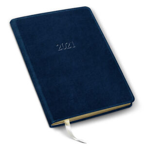 2021 Leather Desk Weekly Planner 192 Pages 8 x5 5 Open Format acadia Navy