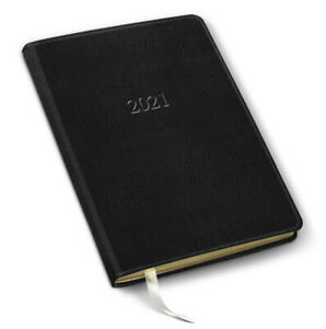 2021 Leather Desk Weekly Planner 192 Pages open Format 8 x5 5 freeport Black