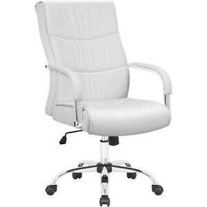 White Desk Chair Gaming Executive Office Computer Chairs Leather Rolling Chair