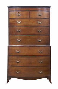 19th Century Bowfront Mahogany Chest On Chest