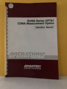 Advantest Foe 8311244g00 R3465 Series Opt61 Cdma Measurement Operation Manual