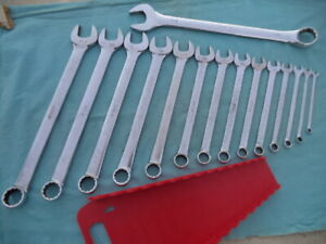 Large Snap On Sae 12 Pt Combo Wrench Set 14 Pc oex34 1 4 1 1 16 W rack Nice