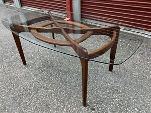 Vintage Adrian Pearsall Compass Dining Table Glass Top Mid Century Excellent