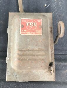 Vintage Fed Pacific Fpe Fuse Box Enclosed Switch Lever 30 Amp 120 Vac 125 Vdc