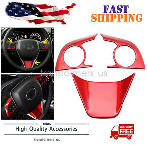 3pcs Red Steering Wheel Decoration Cover Trims For Toyota Camry 2018 2020 Us