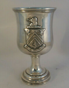 Coin Silver Gorham Thurber Goblet 6 W Coat Of Arms