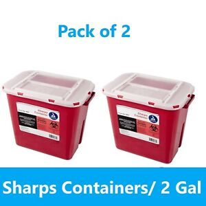 Sharps Container 2 Gallon Biohazard Needle Disposal Doctor Tattoo Dynarex 2 Pack