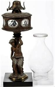 Antique J F Iden Spelter Figural Oil Kerosene Lamp Enclosed Glass Font Thuro Ii