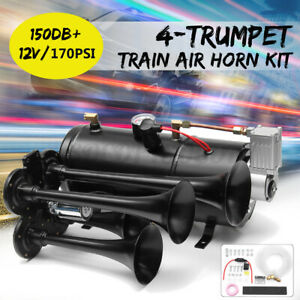 150db Car Truck Train Quad 4 Trumpet Air Horn Kit 170psi 12v Compressor 3 Liter
