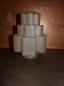 Antique Art Deco Skyscraper Light Shade Frosted Glass For Porch Or Wall Sconce