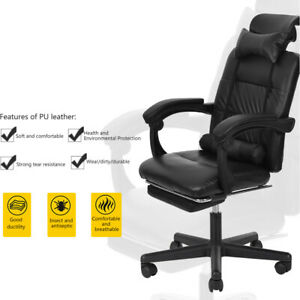 High Back Pu Leather Executive Reclining Computer Office Chair With Footrest