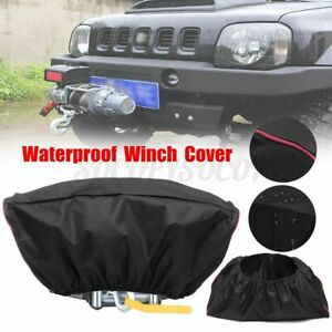 Black 420d Oxford Textile Winch Dust Cover Soft Waterproof 5000 13000lb Capacity