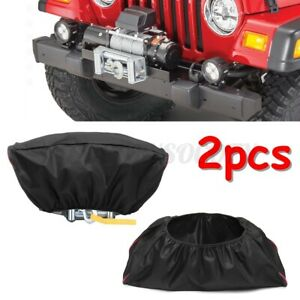 2pcs Waterproof 420d Winch Dust Cover For Driver Recovery 5000 13000 Capacity