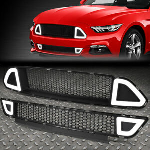 For 15 17 Ford Mustang Triangle Led Honeycomb Front Bumper Upper lower Grille