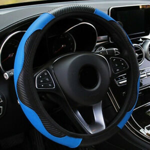 Blue Pu Leather Car Steering Wheel Cover Anti slip Protector Accessories 38cm