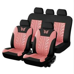 Car Seat Covers Full Set Split Bench Compatible Pink Black 3d Butterfly Prints