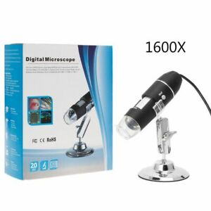 Digital Microscope Camera Endoscope 8led Magnifier With Metal Stand 1600x Usb