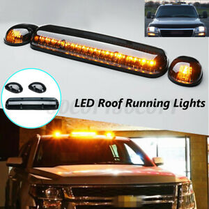 3pcs Smoke Cover Amber 30 Led Cab Roof Top Marker Lights For Chevy Gmc 2002 2007