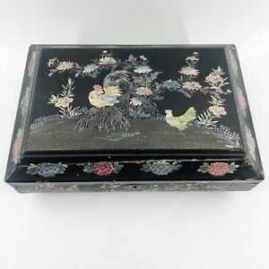 Antique Victorian Papier Mache Inlaid Mother Of Pearl Dresser Sewing Jewelry Box