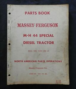 1952 64 Massey Harris M h 44 Special Diesel Tractor Parts Manual Very Good Shape