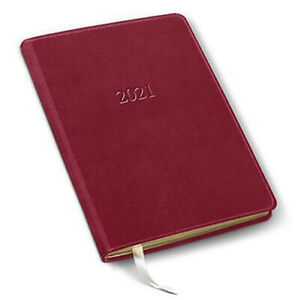 2021 Leather Desk Weekly Planner 192 Pages Open Format 8 x5 5 Acadia Red