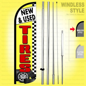 New Used Tires Windless Swooper Flag Kit 15 Feather Banner Sign Yz h