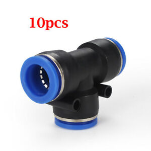10pcs Pneumatic Air Quick Push To Connect Fittings Kit 1 4 Od t Tee Tube 8mm