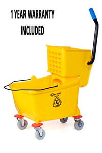 Commercial Mop Buckets With Side Press 50000 Cycles Wringer Durable Yellow New