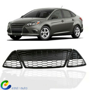 Fit For Ford Focus 2012 2013 2014 Front Lower Grille Grill 3pcs Honeycomb