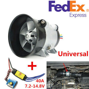 12v Car Electric Turbo Supercharger Intake Fan Boost W Electronic Speed Control