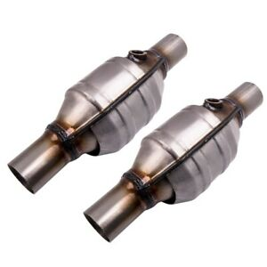 Set Of 2 2 Inch Universal Catalytic Converter High Flow Stainless Steel 53004