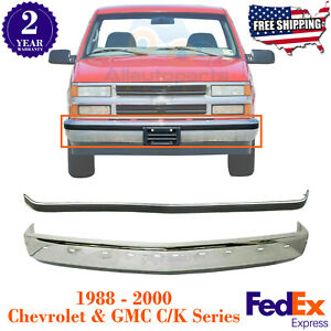 Front Bumper Chrome Molding Impact Strip For 88 00 Chevy Gmc C K Series