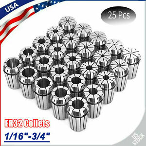 25 Pcs Er32 Spring Steel Collet Set For Cnc Milling Lathe Engraving Machine New