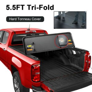 Hard Tonneau Cover For 2015 2020 Ford F 150 Truck Bed 5 5ft Tri Fold W Hardware