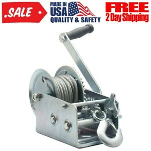 2500lbs Boat Trailer Hand Winch W 10m Polyester Strap Mooring Hook High Quality