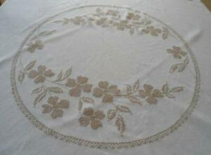 Vintage Linen Tablecloth Taupe Hand Embroidered Floral Round Crosstitch 64