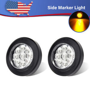 2x 2 Inch Round Side Marker Clearance Truck Light White amber W grommet Trailer