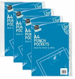 500 X A4 Clear Punch Plastic Pouch Pockets Folders Filing Wallets Office Display