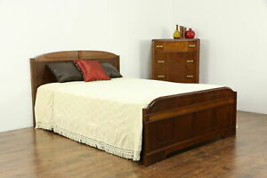 Art Deco Vintage Walnut 2 Piece Bedroom Set Full Size Bed Tall Chest 34384
