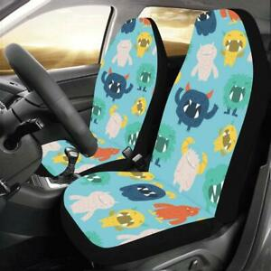 Monster Cartoon Blue Universal Fit Car Seat Covers Protectors Accessories